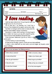 English Worksheet:  I LOVE READING ( 2 PAGES )
