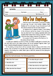English Worksheets: WE�RE TWINS ( 2 PAGES )
