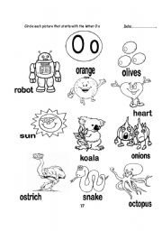 Words That Start With The Letter O English worksheets: letter o