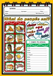 English Worksheets: WHAT DO PEOPLE EAT?