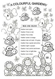 English Worksheets: Lets colour the bees & butterflies!!!