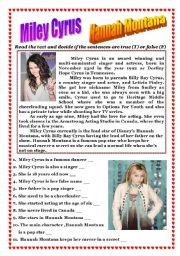 English Worksheet: Reading (Miley Cyrus - Hannah Montana)