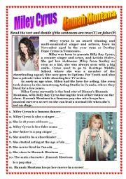 English Worksheets: Reading (Miley Cyrus - Hannah Montana)