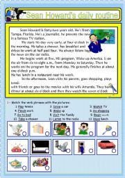 English Worksheets: Sean Howard�s daily routine