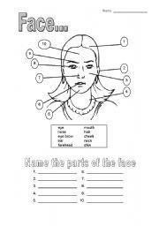 English Worksheets: girls� face