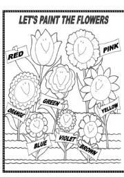 English Worksheet: COLOURFUL FLOWERS