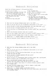 English Worksheets: Redneck Athletes