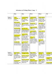 English Worksheets: English Camp Itinerary