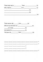 English Worksheet: Writing limericks with scaffolding