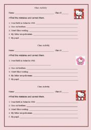 English Worksheets: class activity
