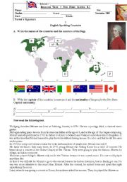 English Worksheet: Test on English Speaking Countries and Mozart