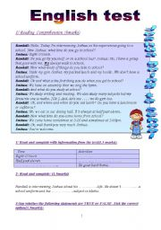 English Worksheet: English test: 3 parts (8th form end of term test 2):Reading Comprehension/Language:Grammar+Vocabulary/Writing