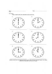 English worksheet: telling time