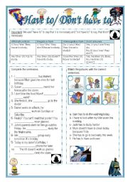 English Worksheet: Have to / Don�t have to