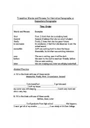 English Worksheet: Transition Words - Time Order