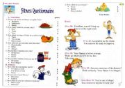 English Worksheet: Fitness Questionaire