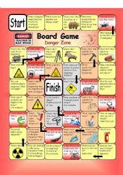 English Worksheets: Board Game - Danger Zone