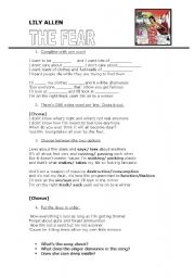 English worksheet: Lily Allen - THE FEAR