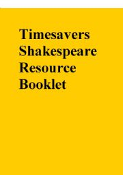 Timesavers Shakespeare Resource Booklet