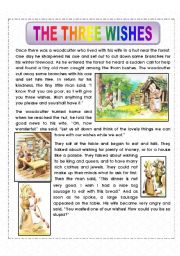 English Worksheet: THE THREE WISHES