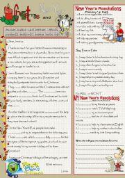 English Worksheet: cHRISTMAS AND nEW yEAR