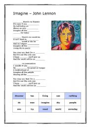 English Worksheet: Imagine -John Lennon