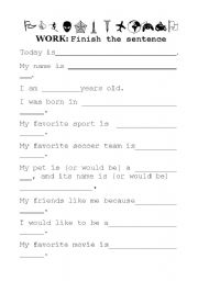 English Worksheets: Finish the question, present yourself