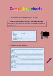 English Worksheets: Completing two charts