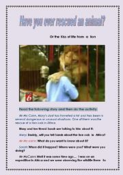 English Worksheets: Have you ever rescued an animal? ( entirely written and devised by me)