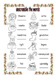 English Worksheet: unscramble the words