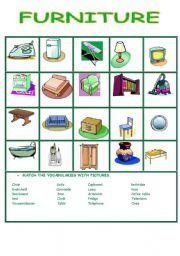 worksheet: FURNITURE MATCHING EXERCISE | furniture exercises esl