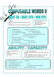 English Worksheet: CONFUSABLE WORDS 9-BEAT-WIN-ABILITY-CAPACITY-AVOID-PREET