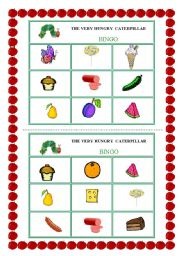 English Worksheet: THE VERY HUNGRY CATERPILLAR - BINGO (2 pages)