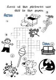 English Worksheets: a crossword game to practise some words for young learners