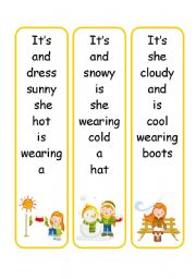 English Worksheet: 6 sentence cards ( weather /clothes )!
