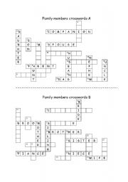 English Worksheet: Family members crosswords - Communicative exercise (Pair work)