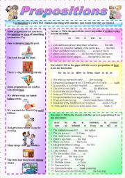 English Worksheets: �Prepositions� of Time & Place - (( Explanations, examples & 30 sentences to complete )) - Elementary/Intermediate - (( B&W VERSION INCLUDED ))