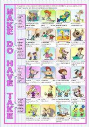 English Worksheets: MAKE DO HAVE TAKE