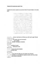 English worksheet: Transport vocab wordsearch