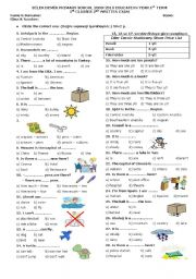 English Worksheet: 5th Grade 2. Exam