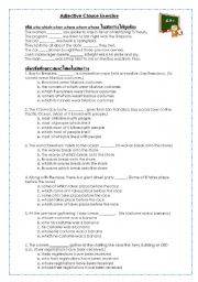 English Worksheet: Adjective Clause Exercise