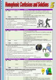 English Worksheets: Homophonic Confusions ans Solutions 5