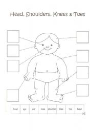 English Worksheet: Body parts coloring, cut and paste (work with a song)