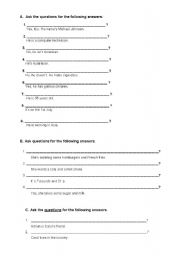 English Worksheets: Asking Questions and Dehidrated Sentences