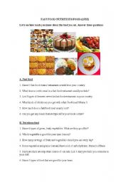 English Worksheet: Fast food versus healthy food (quiz)