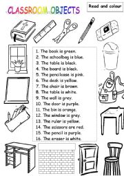 english worksheet classroom objects