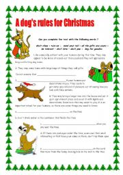 English Worksheets: A dog�s rules for Christmas / 2 pages