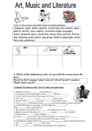 English Worksheets: Art, Music, Literature