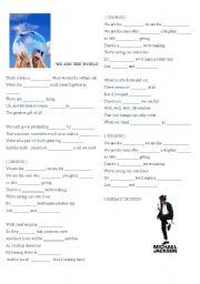 English Worksheet: We are the world - Michael Jackson