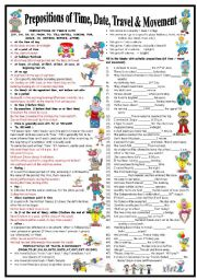 English Worksheet: Prepositions of Time, Date, Travel & Movement